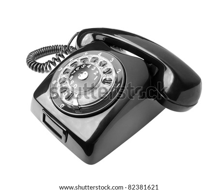 Black old phone isolated on white background