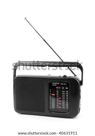 black old radio on a white background.