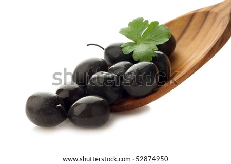 black olives over the spoon