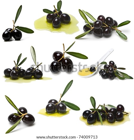 Black olives set isolated on a white background.