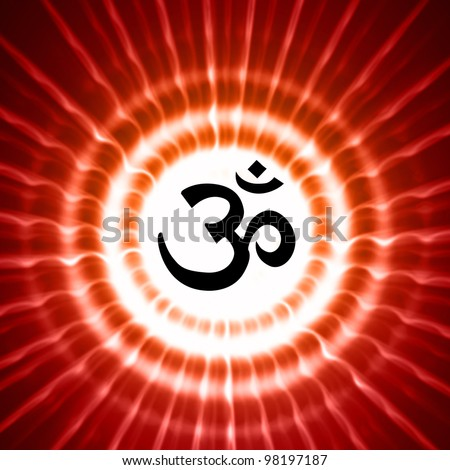 Black Om Symbol Over Red Light Rays Stock Photo 98197187