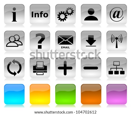 Black on white glossy internet icons series and five colors blank customizable buttons