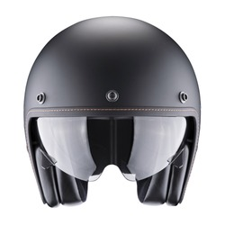 Black Open Face Modern Motorcycle Helmet Isolated on White. Cruiser Scooter & Flip Up Motorbike Helm with Retractable Double Visor. Front View Scooter Headgear. Sports Gear. Protective Equipment
