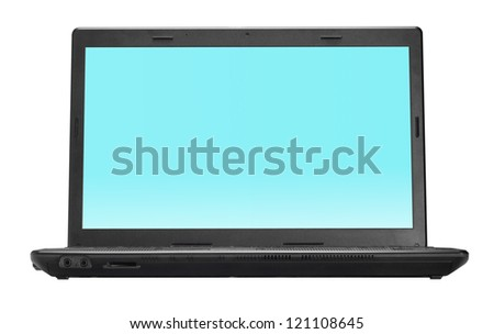 Black open laptop isolated on white background
