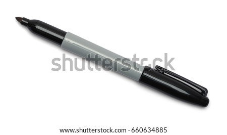Black Open Marker Isolated on White Background.