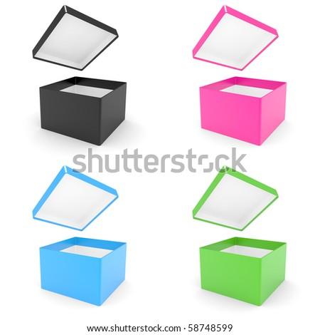 black opened cardboard box 3D illustration isolated on white background - stock photo