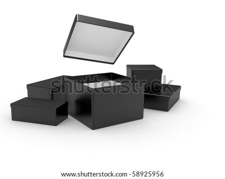black opened cardboard box 3D illustration isolated on white background