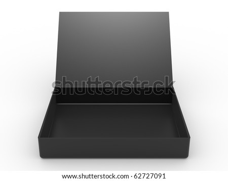 black opened cardboard box on white background