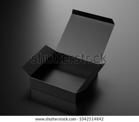 Black opened paper box on a dark background. 3D rendering. stock photo