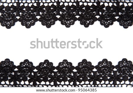 Black openwork lace isolated on white background