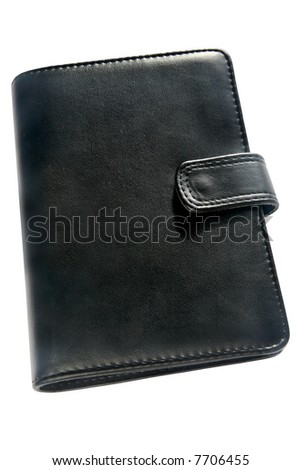 Black organizer address book and diary.