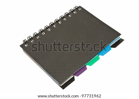 black organizer spiral notebook paper book isolated over white background
