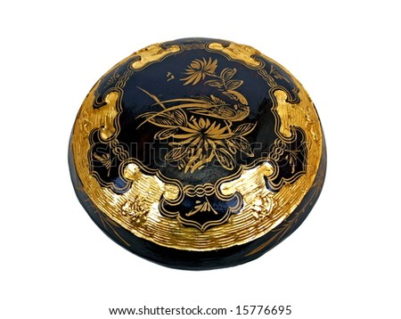 Black Oriental gold decorated ornamental dumplings basket Top Cover