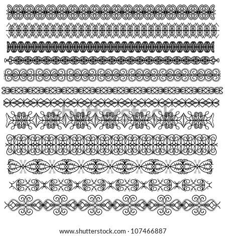 Black ornamental trim oder border collection