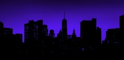 Black outlines of New York City skyline buildings with colorful lights contrast against empty sky background at night
