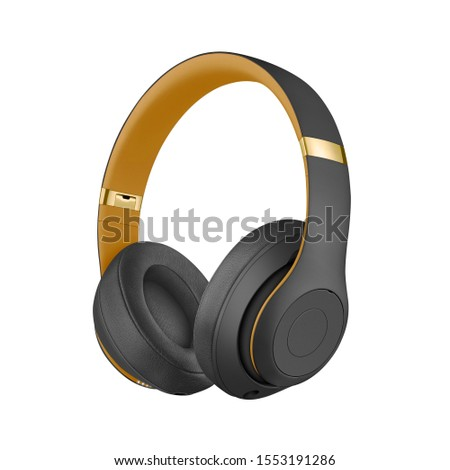 Black Over-Ear or Over-The-Ear Wireless Headphones Isolated on White. Acoustic Stereo Sound System. On-Ear & Over-The-Head or Over the Head Headset with Soft Comfort Ear Pad & Fast Charge Technology