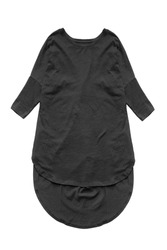 Black oversized cotton tunic dress isolated over white