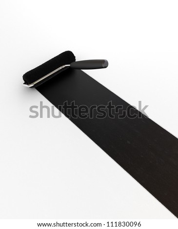 Black Paint Roller - Isolated on White Background