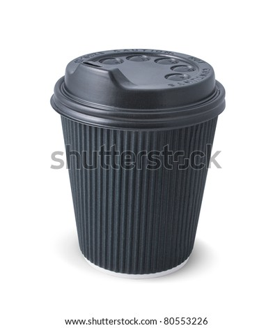 Black paper coffee cup with a lid on a white background