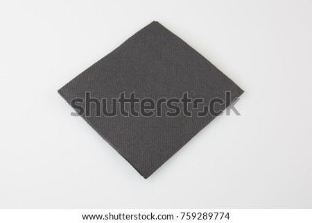Black paper napkin isolated on white background #759289774