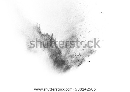 Black particles explosion isolated on white background.  Abstract dust overlay texture. #538242505