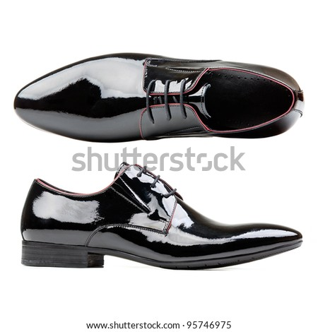 Black patent leather men shoes against white background #95746975