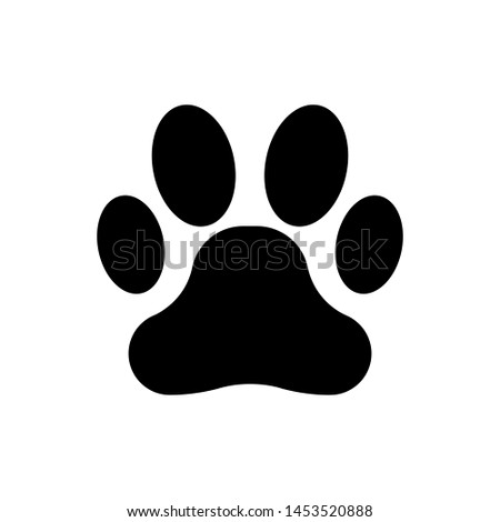 Black Paw print icon isolated. Dog or cat paw print. Animal track