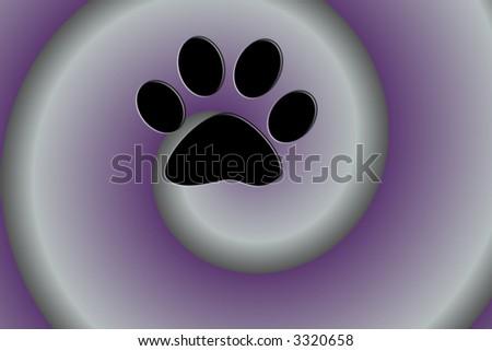 Black Paw Print On Purple Swirl Background