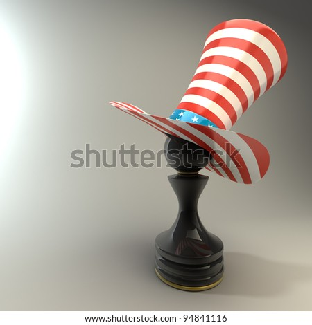 Black Pawn in a  TOP hat of usa High resolution 3D