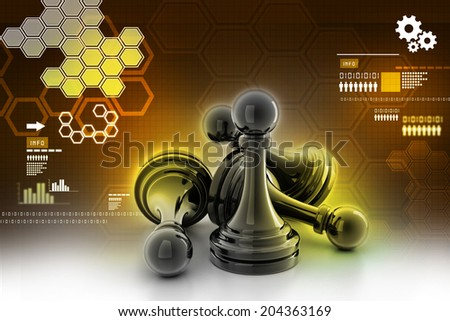 black pawn isolated on color background