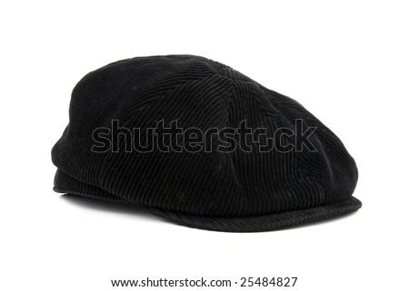 Black peaked cap isolated over white background