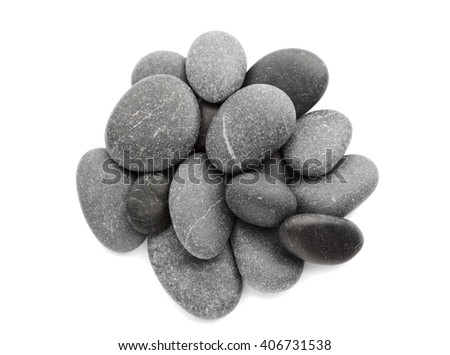 Black pebbles on white background