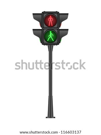 Black pedestrian traffic light, bitmap copy.