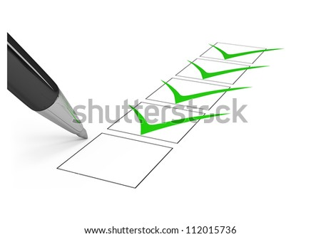 Black pen draws a checkmark in the list. 3d image. Isolated white background.
