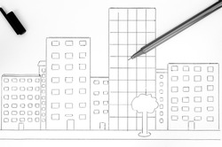 Black pen on hand drawing City landscape with buildings. Black and white.