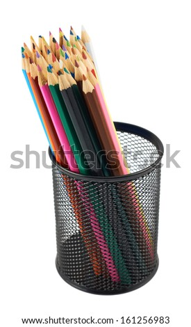 Black pencil holder full of colorful pencils isolated over white background