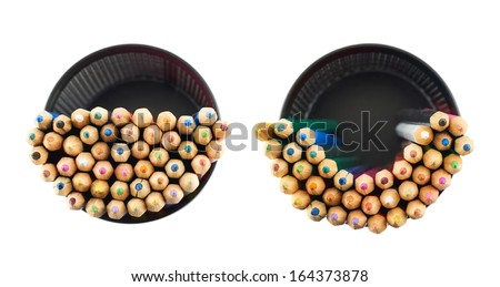 Black pencil holder full of colorful pencils, top view above, isolated over white background, set of two foreshortenings