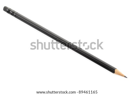 Black pencil isolated on white, clipping path included