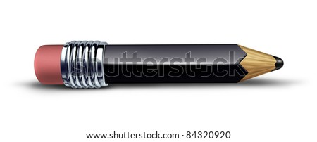 Black pencil on white background lying flat on the floor with a shadow symbol of trust representing the concept of education and contracts. - stock photo
