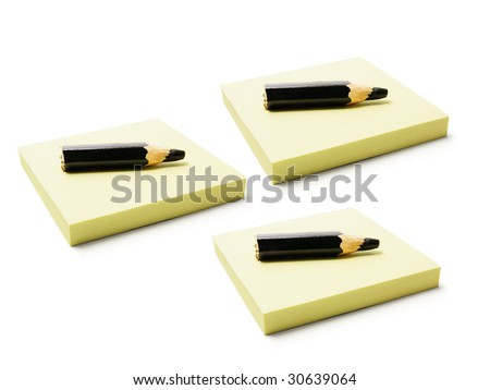 Black Pencils on Post It Note Pads on White Background
