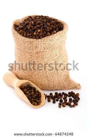 Black pepper in burlap sack