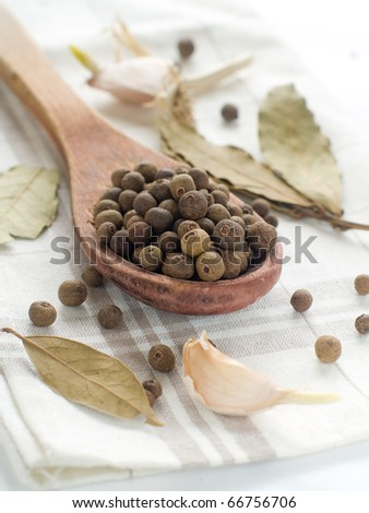 Black pepper in wooden spoon with garlic on background