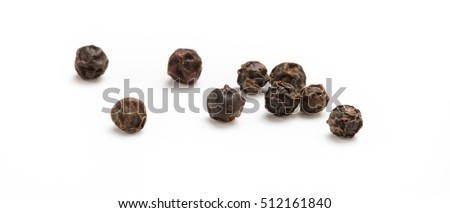 Black pepper isolated on white background. Spices. #512161840