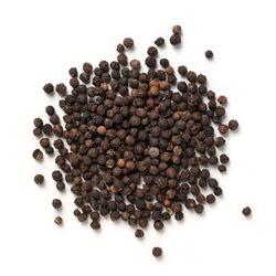 Black Pepper – Pile of Peppercorn, Flavoring Vine Fruit, Dried Spice – Top View, Close-Up Macro, from Above – Isolated on White Background