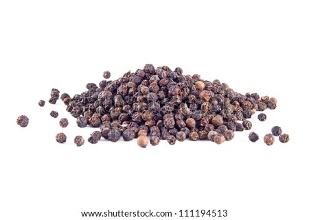 Black pepper square isolated on the white background