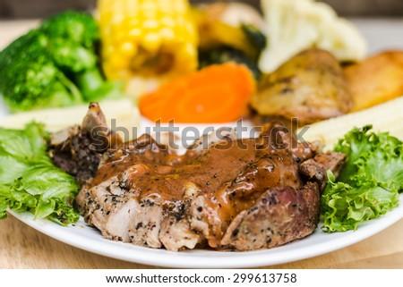 Black Pepper Steak,pork steak with black pepper with vegetable