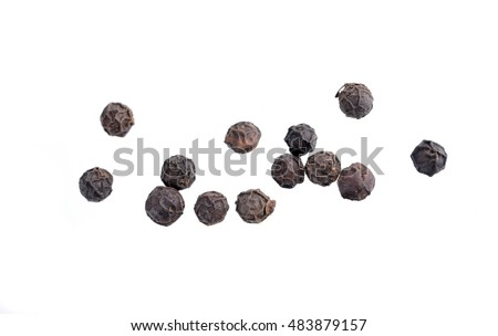 Black pepper was placed on a white background #483879157