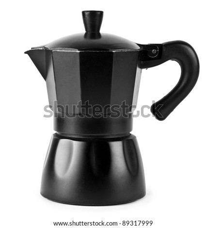 Black percolator  on white background