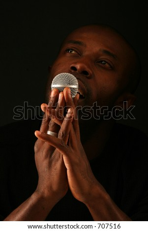 black person and microphone - stock photo