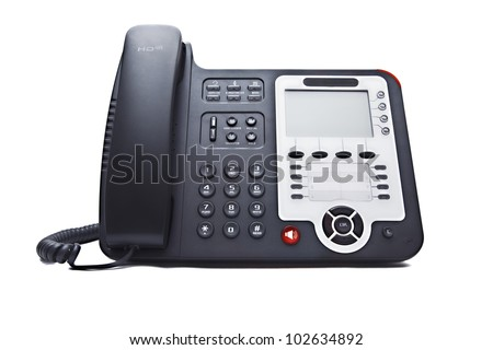 black phone closeup isolated on white background